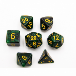 Black/Green Set of 7 Galaxy Polyhedral Dice with Gold Numbers for D20 based RPG's