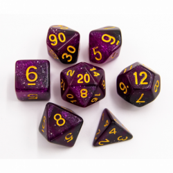 Black/Purple Set of 7 Galaxy Polyhedral Dice with Gold Numbers for D20 based RPG's