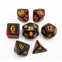 Black/Red Set of 7 Galaxy Polyhedral Dice with Gold Numbers for D20 based RPG's