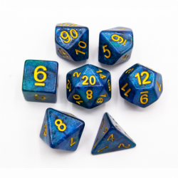 Blue/Green Set of 7 Galaxy Polyhedral Dice with Gold Numbers for D20 based RPG's