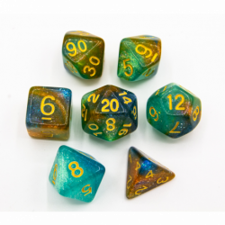 Blue/Green/Orange Set of 7 Galaxy Polyhedral Dice with Gold Numbers for D20 based RPG's