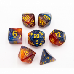 Blue/Pink/Silver Set of 7 Galaxy Polyhedral Dice with Gold Numbers for D20 based RPG's