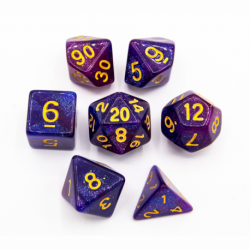 Blue/Purple Set of 7 Galaxy Polyhedral Dice with Gold Numbers for D20 based RPG's
