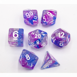 Blue/Purple Set of 7 Galaxy Polyhedral Dice with White Numbers for D20 based RPG's