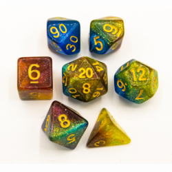 Blue/Purple/Yellow Set of 7 Galaxy Polyhedral Dice with Gold Numbers for D20 based RPG's