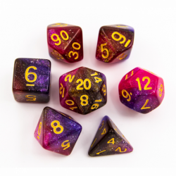Dark Purple/Purple Set of 7 Galaxy Polyhedral Dice with Gold Numbers for D20 based RPG's