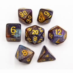 Orange/Silver Set of 7 Galaxy Polyhedral Dice with Gold Numbers for D20 based RPG's