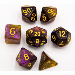 Purple/Yellow Set of 7 Galaxy Polyhedral Dice with Gold Numbers for D20 based RPG's