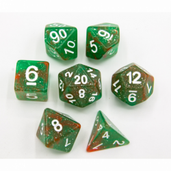 Red/Green Set of 7 Galaxy Polyhedral Dice with White Numbers for D20 based RPG's