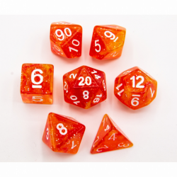 Red/Yellow Set of 7 Galaxy Polyhedral Dice with White Numbers for D20 based RPG's