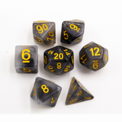 Black Set of 7 Jade Polyhedral Dice with Gold Numbers for D20 based RPG's