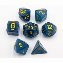 Blue Set of 7 Jade Polyhedral Dice with Gold Numbers for D20 based RPG's