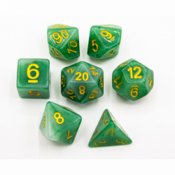 Green Set of 7 Jade Polyhedral Dice with Gold Numbers for D20 based RPG's