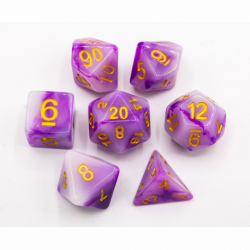 Purple Set of 7 Jade Polyhedral Dice with Gold Numbers for D20 based RPG's