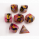 Black/Red/White Set of 7 Jade Fusion Polyhedral Dice with Gold Numbers for D20 based RPG's