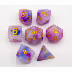 Blue/Purple Set of 7 Jade Fusion Polyhedral Dice with Gold Numbers for D20 based RPG's