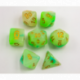 Green/White Set of 7 Jade Fusion Polyhedral Dice with Gold Numbers for D20 based RPG's