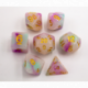 Purple/White Set of 7 Jade Fusion Polyhedral Dice with Gold Numbers for D20 based RPG's