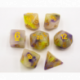 Purple/Yellow Set of 7 Jade Fusion Polyhedral Dice with Gold Numbers for D20 based RPG's