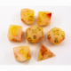 Red/Yellow Set of 7 Jade Fusion Polyhedral Dice with Gold Numbers for D20 based RPG's