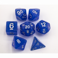 Blue Set of 7 Jelly Polyhedral Dice with Silver Numbers for D20 based RPG's