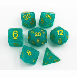 Green Set of 7 Jelly Polyhedral Dice with Gold Numbers for D20 based RPG's