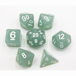 Gray Set of 7 Jelly Polyhedral Dice with White Numbers for D20 based RPG's