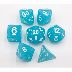 Light Blue Set of 7 Jelly Polyhedral Dice with White Numbers for D20 based RPG's
