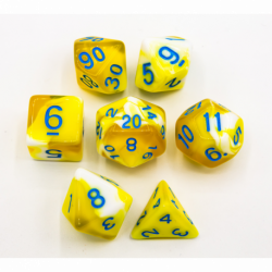 Yellow Set of 7 Milky Polyhedral Dice with Blue Numbers for D20 based RPG's
