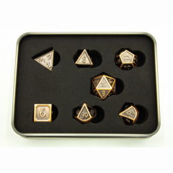 Ancient Shadow Set of 7 Metal Polyhedral Dice with Copper Numbers for D20 based RPG's