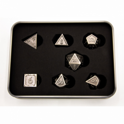 Ancient Shadow Set of 7 Metal Polyhedral Dice with Silver Numbers for D20 based RPG's