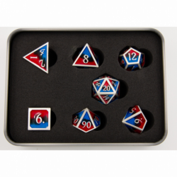 Black/Blue/Red Set of 7 Metal Polyhedral Dice with Silver Numbers for D20 based RPG's