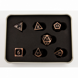 Black Shadow Set of 7 Metal Polyhedral Dice with Copper Numbers for D20 based RPG's