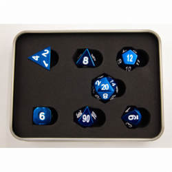 Blue Set of 7 Metal Polyhedral Dice with White Numbers for D20 based RPG's