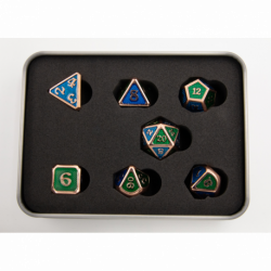 Blue/Green Scaled Set of 7 Metal Polyhedral Dice with Copper Numbers for D20 based RPG's