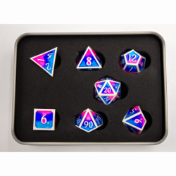 Blue/Pink/Purple Set of 7 Metal Polyhedral Dice with Silver Numbers for D20 based RPG's