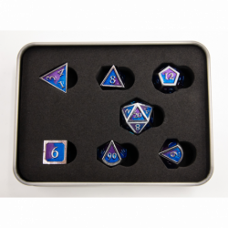 Blue/Purple Set of 7 Metal Polyhedral Dice with Silver Numbers for D20 based RPG's