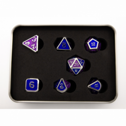 Blue/Purple Scaled Set of 7 Metal Polyhedral Dice with Silver Numbers for D20 based RPG's