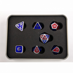Blue/Red Scaled Set of 7 Metal Polyhedral Dice with Silver Numbers for D20 based RPG's