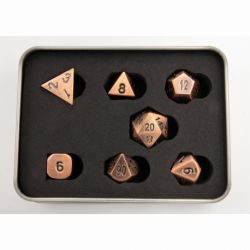 Burnished Set of 7 Metal Polyhedral Dice with Copper Numbers for D20 based RPG's