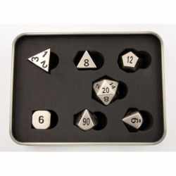 Burnished Set of 7 Metal Polyhedral Dice with Silver Numbers for D20 based RPG's