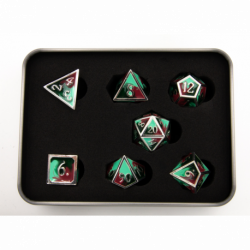 Camo Set of 7 Metal Polyhedral Dice with Silver Numbers for D20 based RPG's