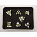 Confetti Set of 7 Metal Polyhedral Dice with White Numbers for D20 based RPG's