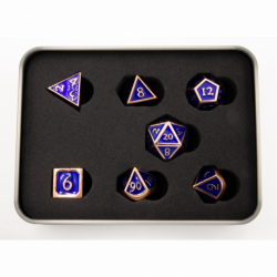 Dark Blue Shadow Set of 7 Metal Polyhedral Dice with Copper Numbers for D20 based RPG's