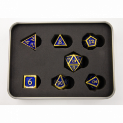 Dark Blue Shadow Set of 7 Metal Polyhedral Dice with Gold Numbers for D20 based RPG's