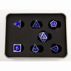 Dark Blue Shadow Set of 7 Metal Polyhedral Dice with Silver Numbers for D20 based RPG's