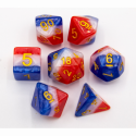 Merica Set of 7 Multi-layer Polyhedral Dice with Gold Numbers for D20 based RPG's