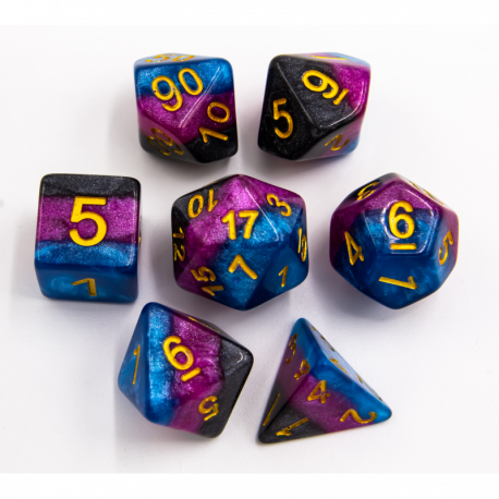 Black/Blue/Purple Set of 7 Multi-layer Polyhedral Dice with Gold Numbers for D20 based RPG's