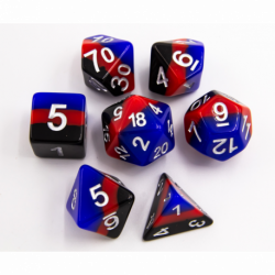 Black/Blue/Red Set of 7 Multi-layer Polyhedral Dice with White Numbers for D20 based RPG's