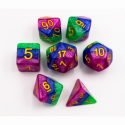 Blue/Green/Purple Set of 7 Multi-layer Polyhedral Dice with Gold Numbers for D20 based RPG's